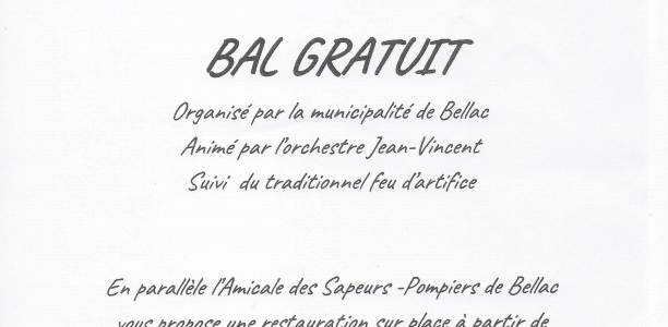 BELLAC SAMEDI 13 JUILLET BAL GRATUIT